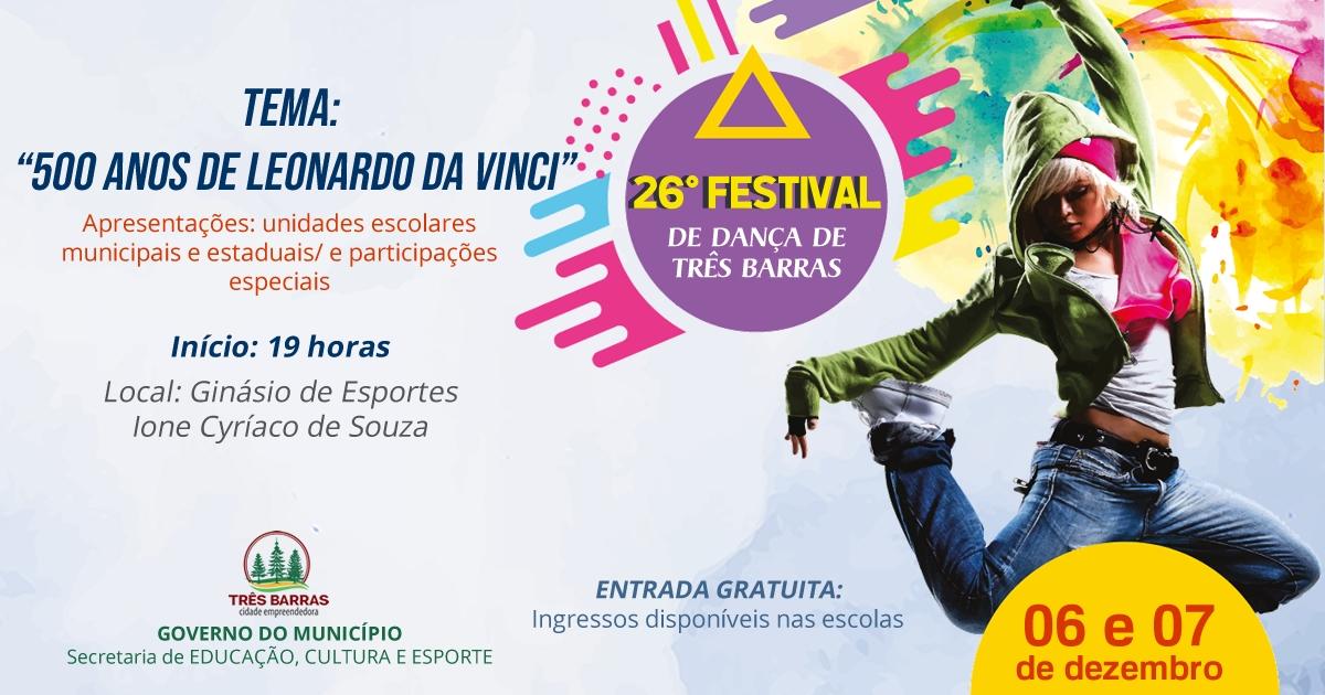 26° Festival de Dança vai movimentar Três Barras neste final de semana