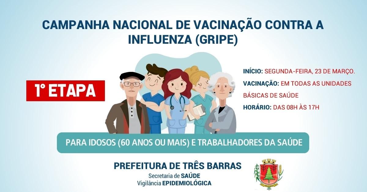 750 doses da vacina contra a Influenza (gripe) chegam às unidades de saúde