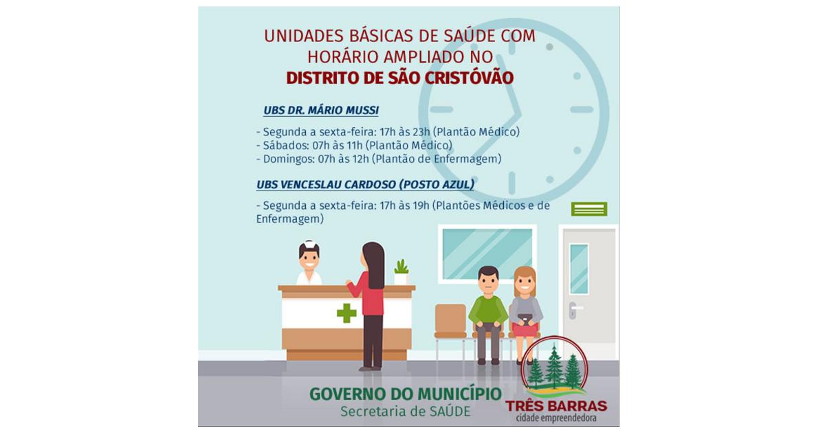 Ampliado o horário de atendimento nas unidades de saúde Dr. Mário Mussi e Venceslau Cardoso