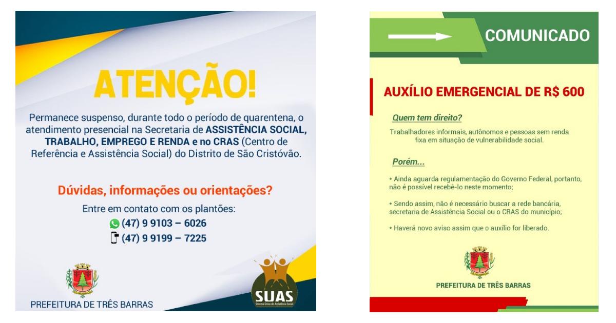 Assistência Social e CRAS permanecem atendendo em regime de plantão; auxílio emergencial ainda não está sendo pago