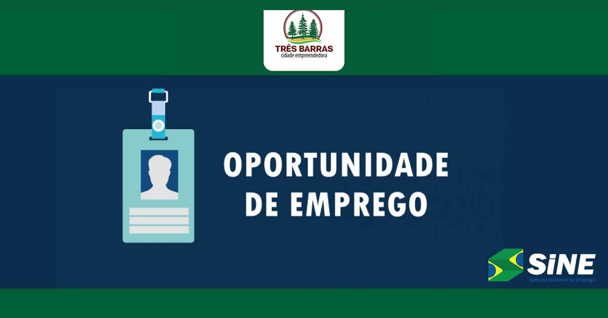 ATENÇÃO PARA VAGA DE EMPREGO DISPONÍVEL NO SINE