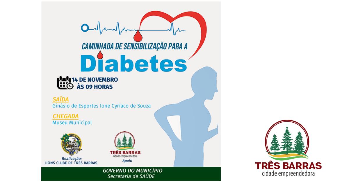 Caminhada nesta quinta-feira pretende sensibilizar a população sobre os riscos do diabetes