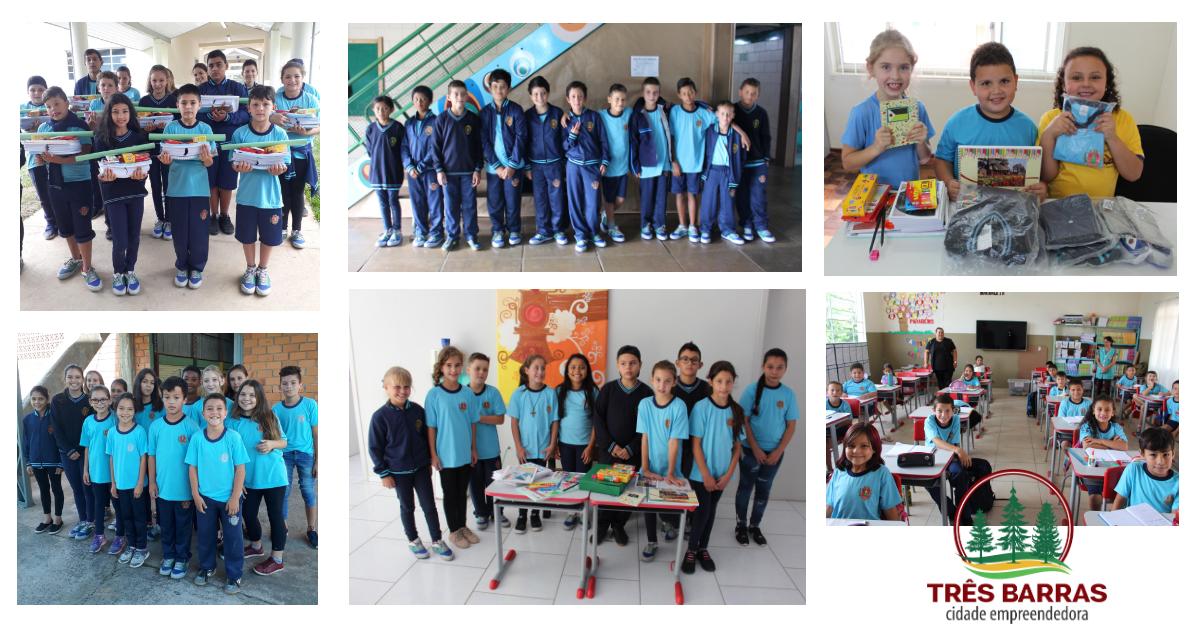 Cerca de três mil alunos estão recebendo kits de material escolar e novos uniformes em Três Barras