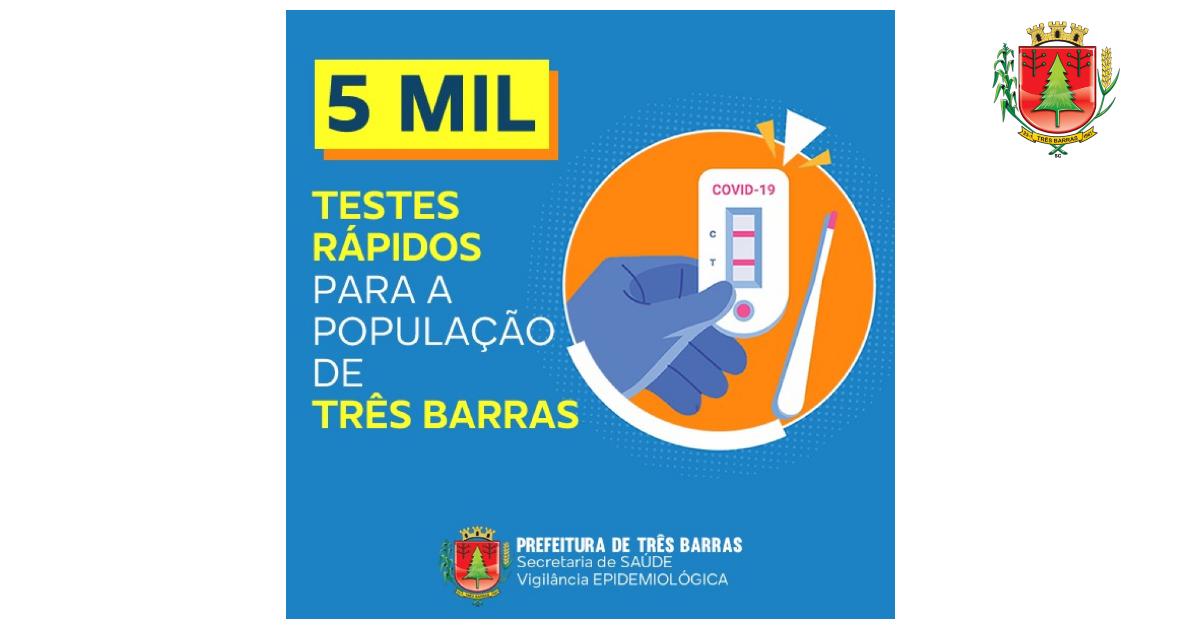 Covid-19: testagem em massa vai atingir cinco mil pessoas em Três Barras