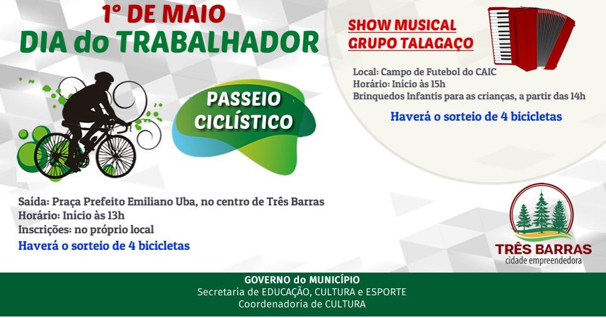 Dia do Trabalhador terá passeio ciclístico no centro e show musical no distrito de São Cristóvão