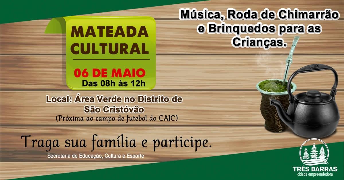 Domingo tem Mateada Cultural no distrito de São Cristóvão