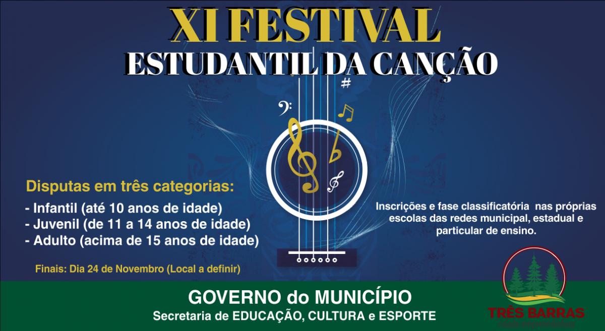 Educação promove o XI Festival Estudantil da Canção de Três Barras; Confira o regulamento