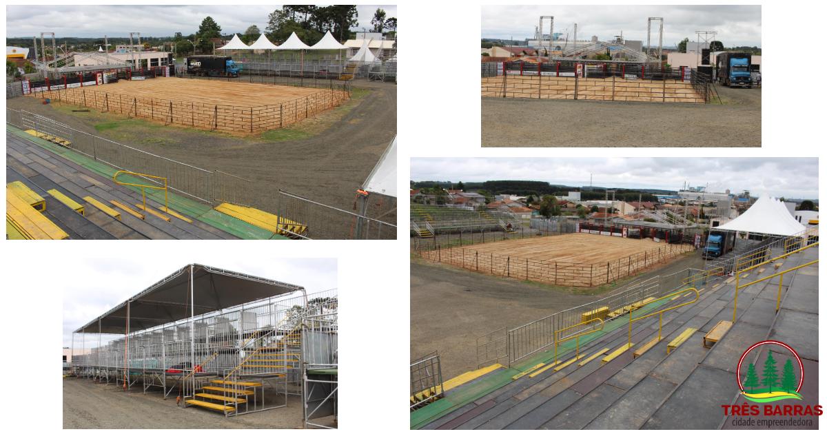 Expo Três Barras: arena que vai receber o rodeio country e shows está praticamente montada