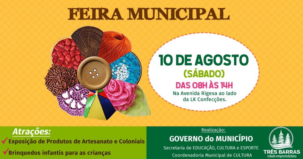 Feira Municipal de Artesanato e Produtos Coloniais acontece neste sábado em Três Barras