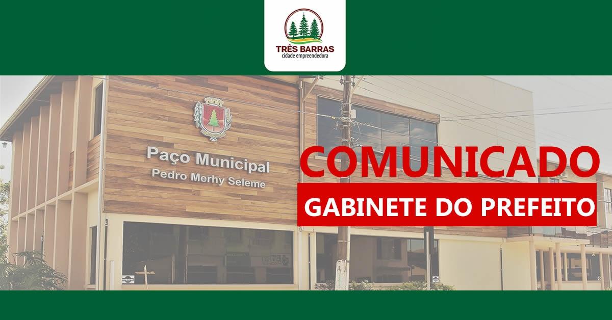 Hoje tem horário diferenciado nas repartições públicas municipais de Três Barras