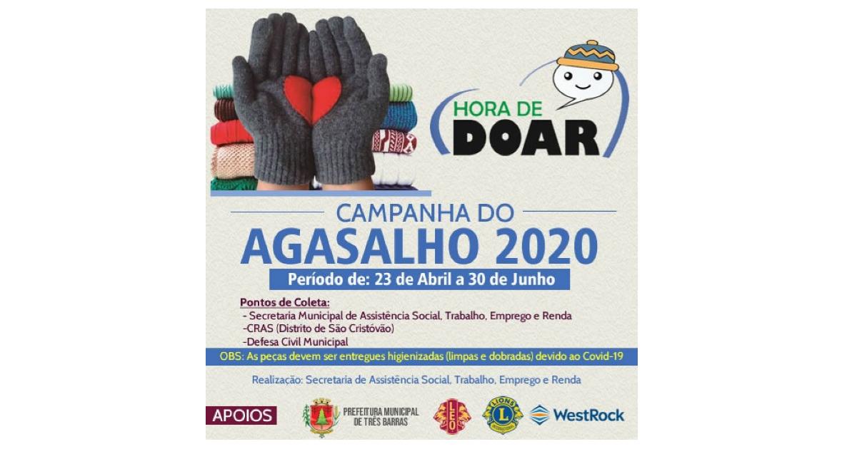Hora de doar: Campanha do Agasalho começa nesta quinta-feira em Três Barras