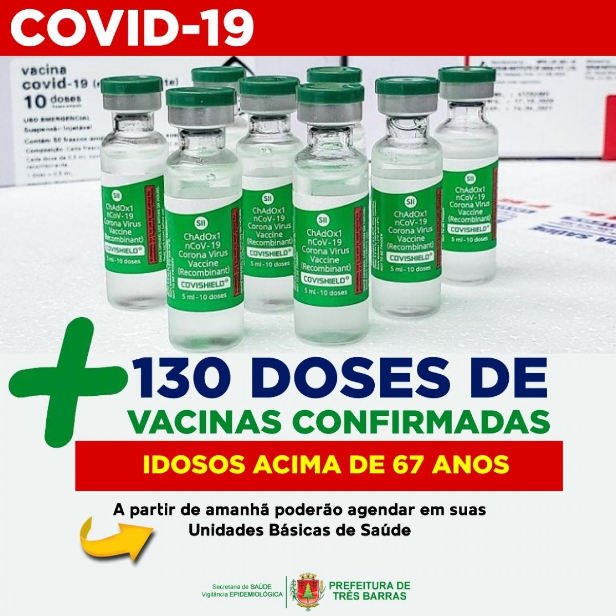 IDOSOS ACIMA DE 67 ANOS PODERÃO AGENDAR AS PRIMEIRAS DOSES DE VACINAS EM SUAS UNIDADES DE SAÚDE A PARTIR DESTA TERÇA-FEIRA