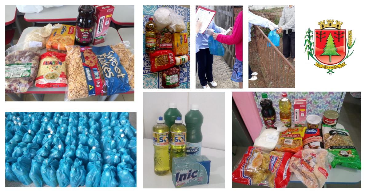 Kits de alimentos e limpeza atendem estudantes e famílias carentes em Três Barras