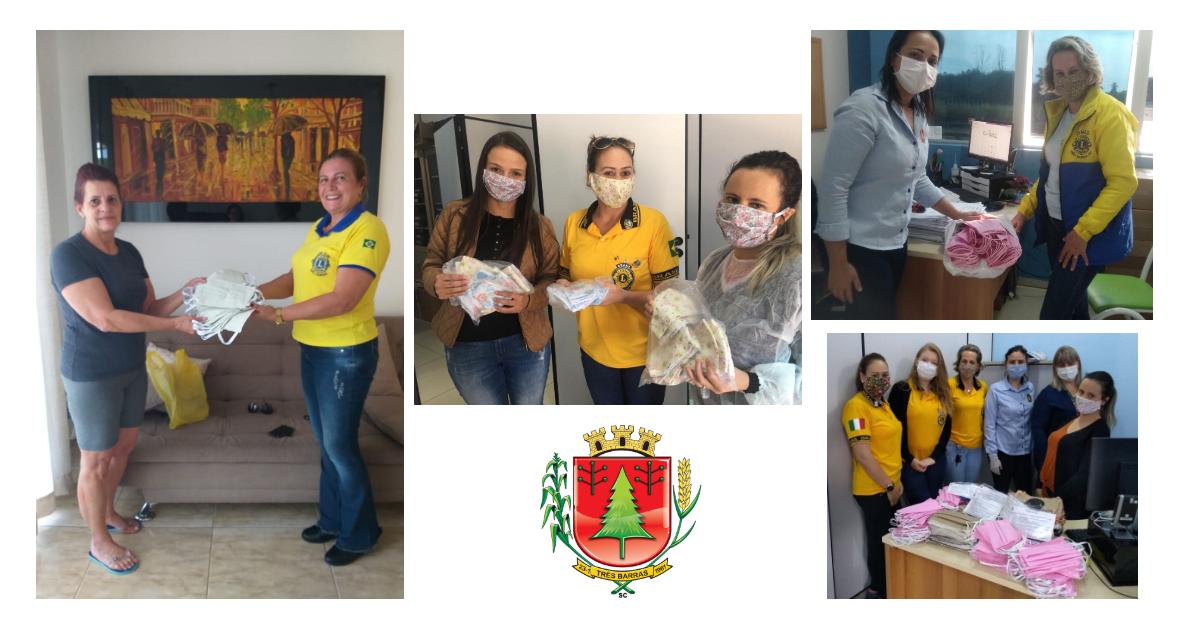 Lions Clube e costureiras voluntárias doam 655 máscaras caseiras à Saúde de Três Barras