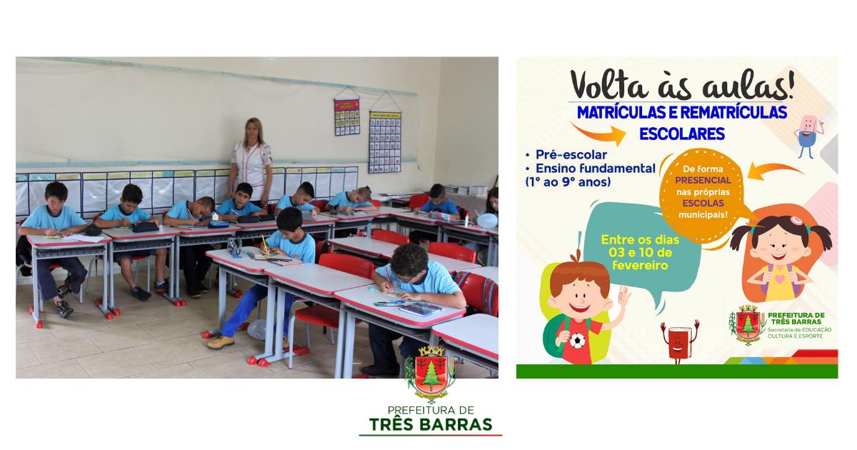 Matrículas e rematrículas acontecem a partir desta quarta-feira nas escolas municipais de Três Barras