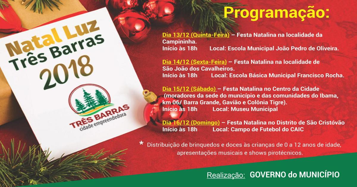 Natal Luz terá a distribuição de presentes a mais de 5,9 mil crianças de Três Barras