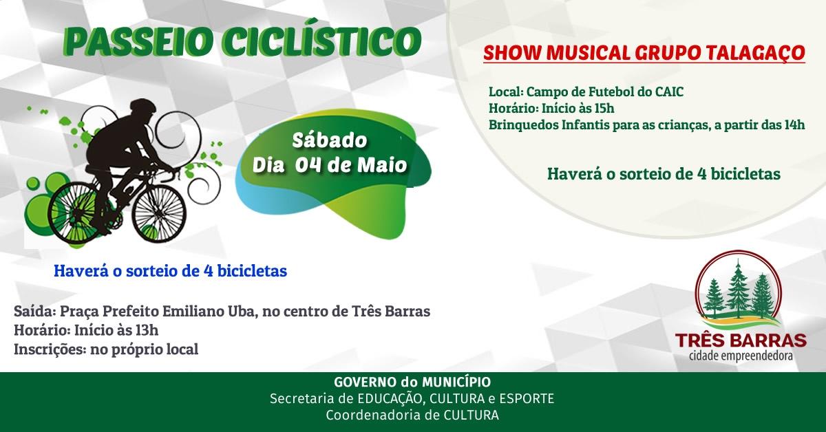 Passeio ciclístico e show do Talagaço estão confirmados para a tarde deste sábado