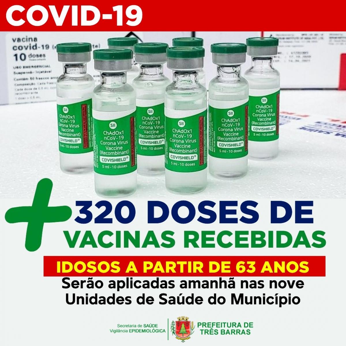 PESSOAS ACIMA DE 63 ANOS SERÃO VACINADAS CONTRA COVID EM TRÊS BARRAS