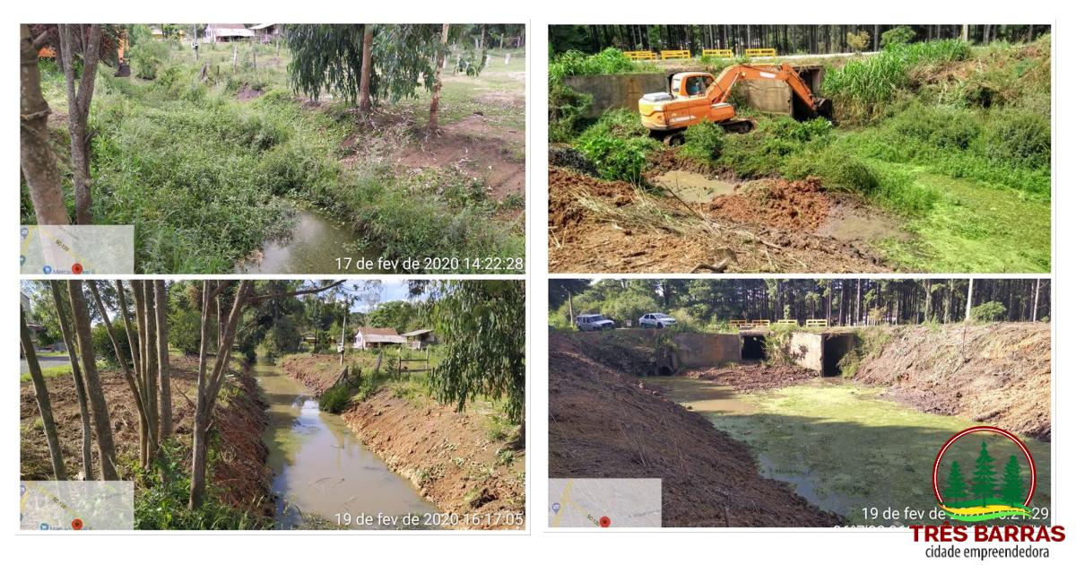 Prefeitura de Três Barras, Defesa Civil e secretarias municipais promovem limpeza no Rio Barra Grande