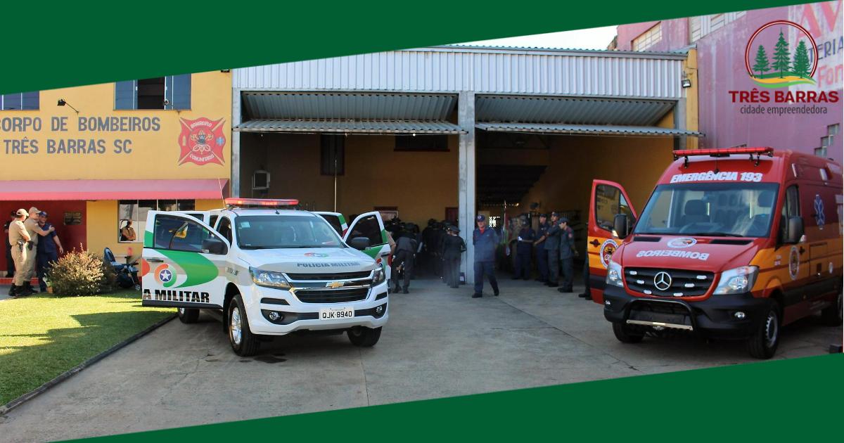 Prefeitura faz a entrega de viaturas ao Corpo de Bombeiros e Polícia Militar de Três Barras
