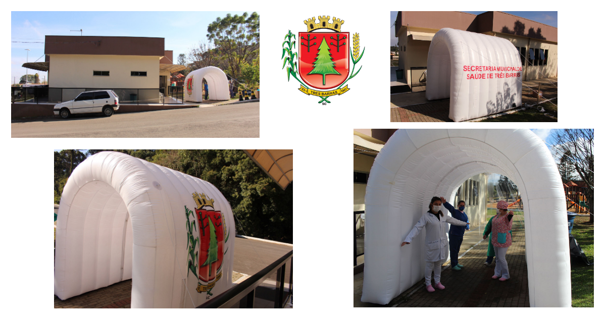 Prefeitura instala túnel de desinfecção no Centro de Triagem de Síndrome Gripal de Três Barras