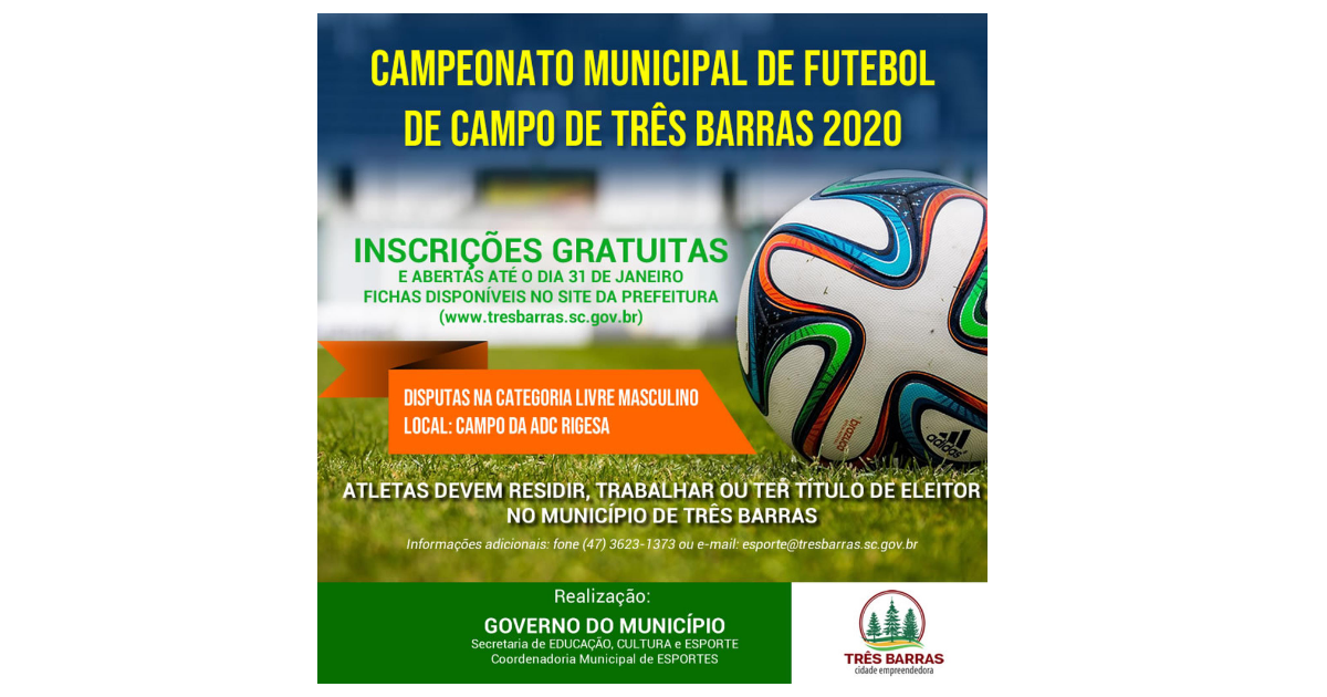 Prorrogadas até esta quinta-feira as inscrições para o Campeonato de Futebol de Campo de Três Barras