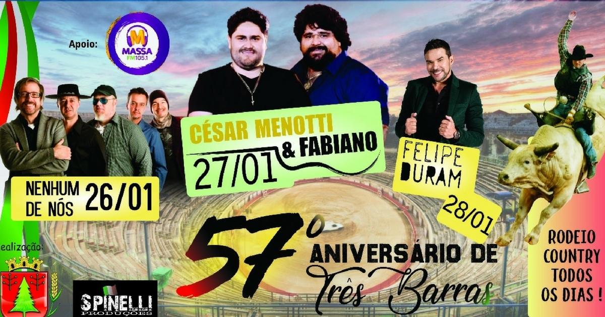 Público terá shows nacionais e rodeio country no aniversário de Três Barras