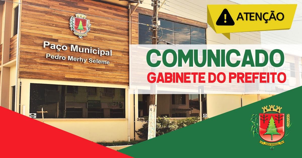 Repartições públicas permanecem fechadas em Três Barras; Informações poderão ser obtidas por telefone