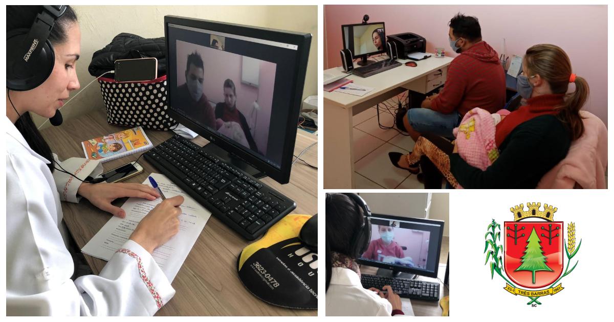 Saúde de Três Barras inova ao ofertar teleconsulta para atendimentos de rotina de puericultura