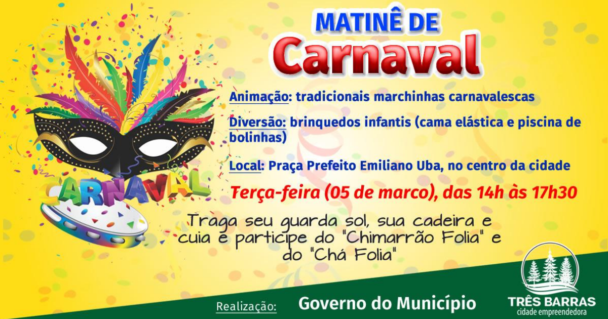 Terça-feira terá Matinê de Carnaval na praça Prefeito Emiliano Uba.