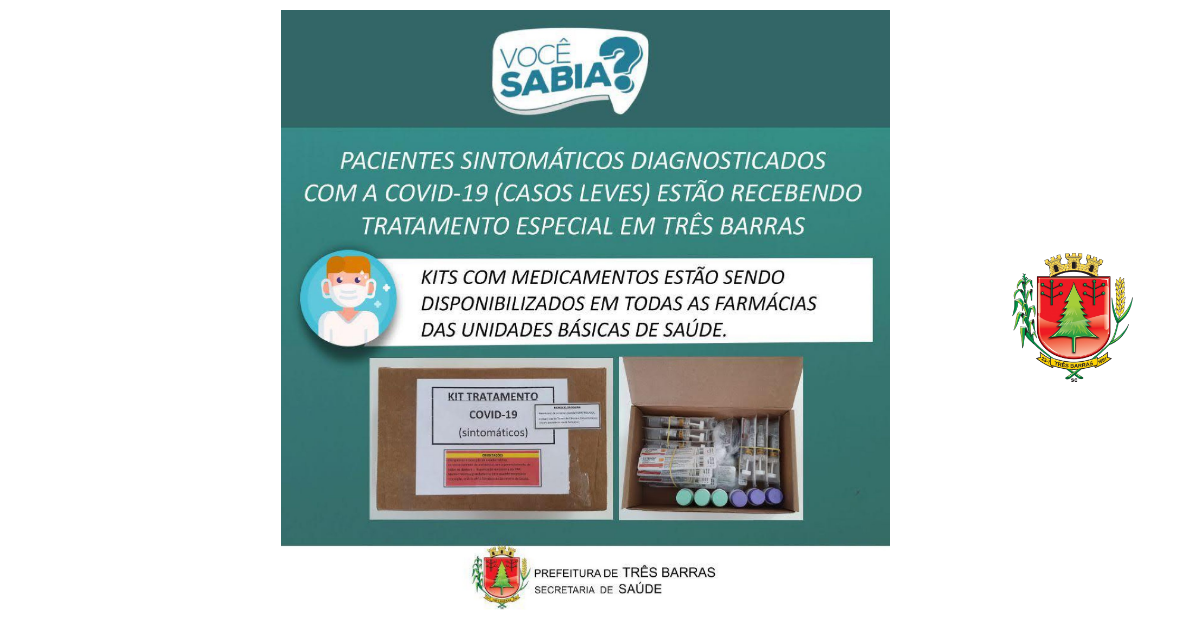 Três Barras disponibiliza medicamentos para pacientes sintomáticos diagnosticados com a covid-19