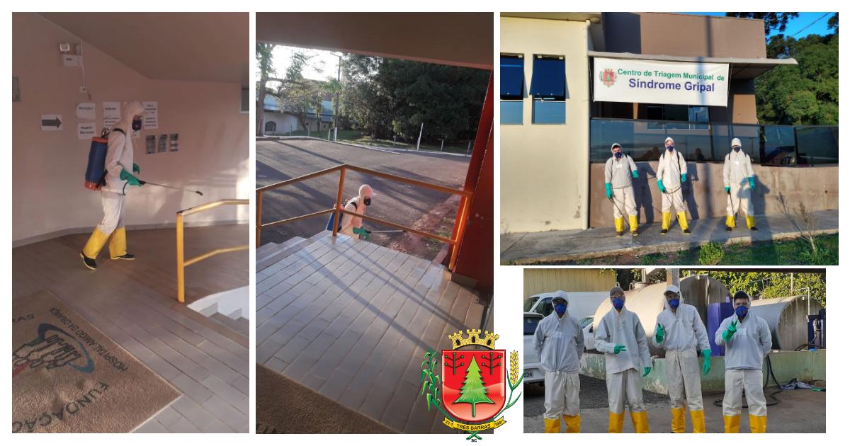 Três Barras inicia a desinfecção dos espaços de saúde pública do município