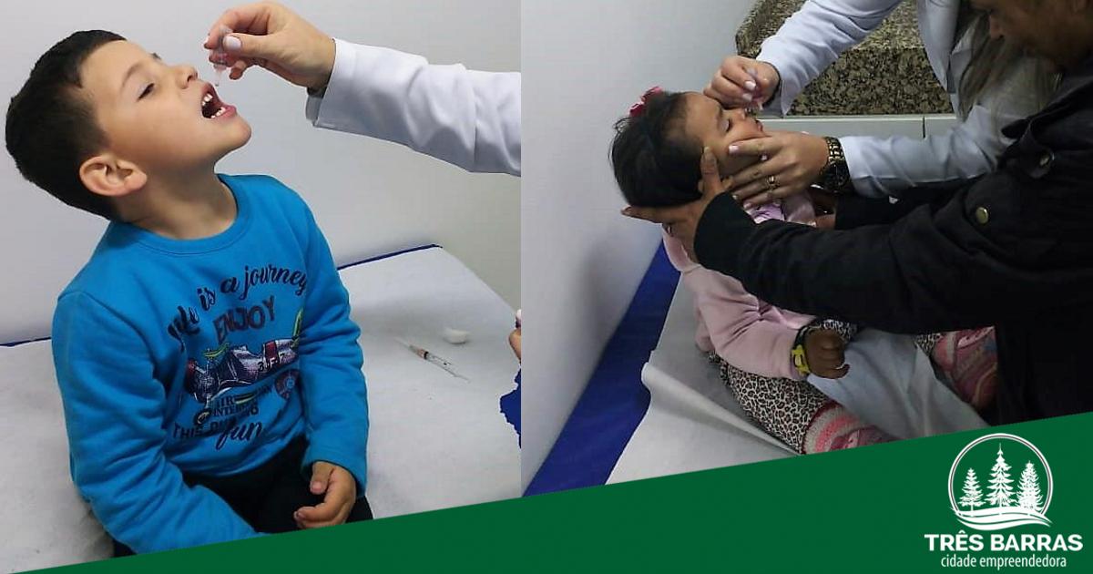 Três Barras já vacinou 77,30% das crianças contra a Pólio e Sarampo