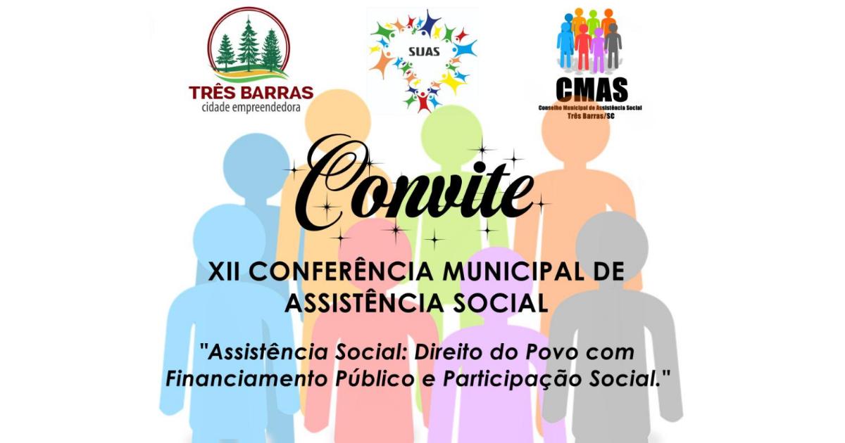 Três Barras realiza Conferência Municipal de Assistência Social no dia 28 de agosto