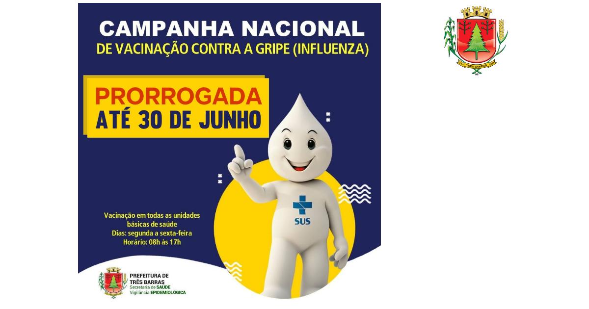Vacinação contra a gripe (Influenza) é prorrogada até o final de junho